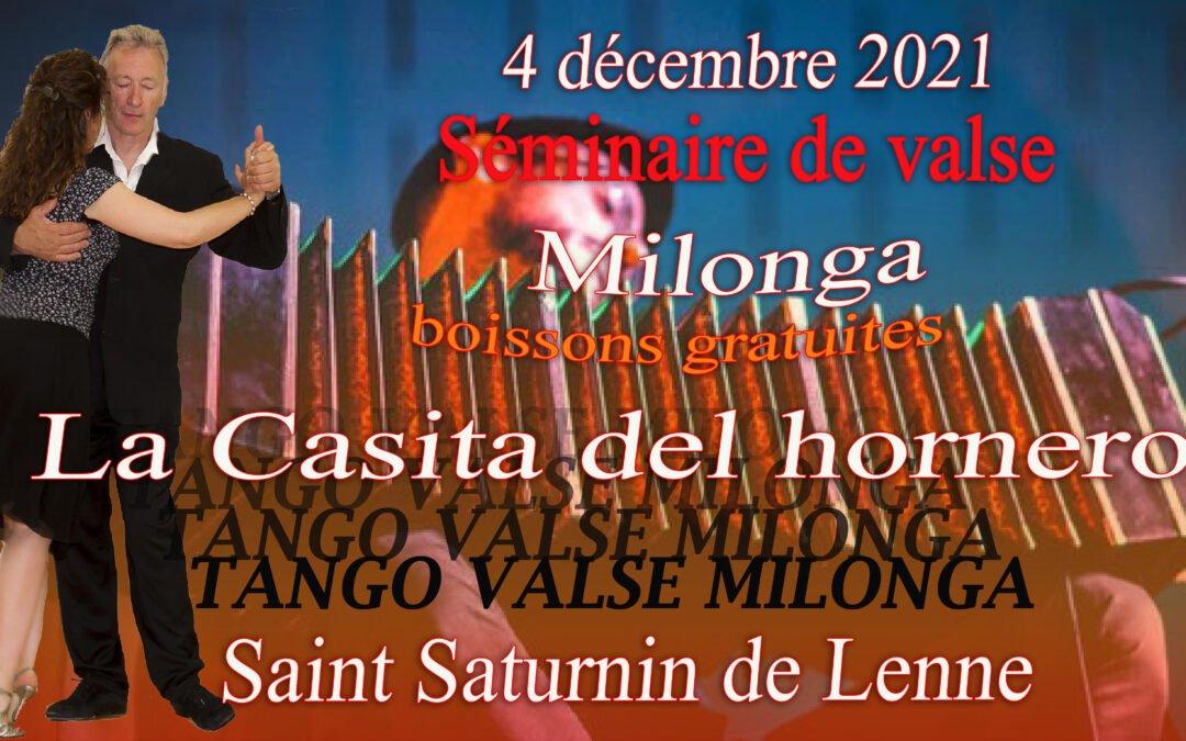Stage et milonga 04 décembre 2021
